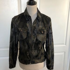 Rosner Women Olive Green Camo Short Fur Jacket